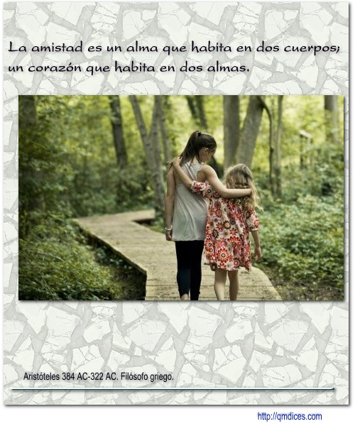 La amistad es un alma que habita en dos cuerpos;
