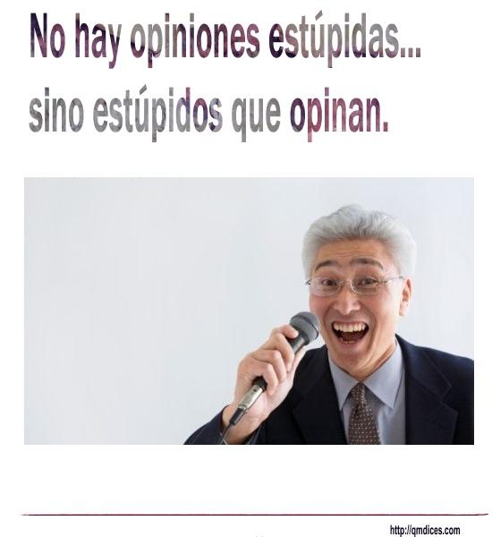 No hay opiniones estúpidas...